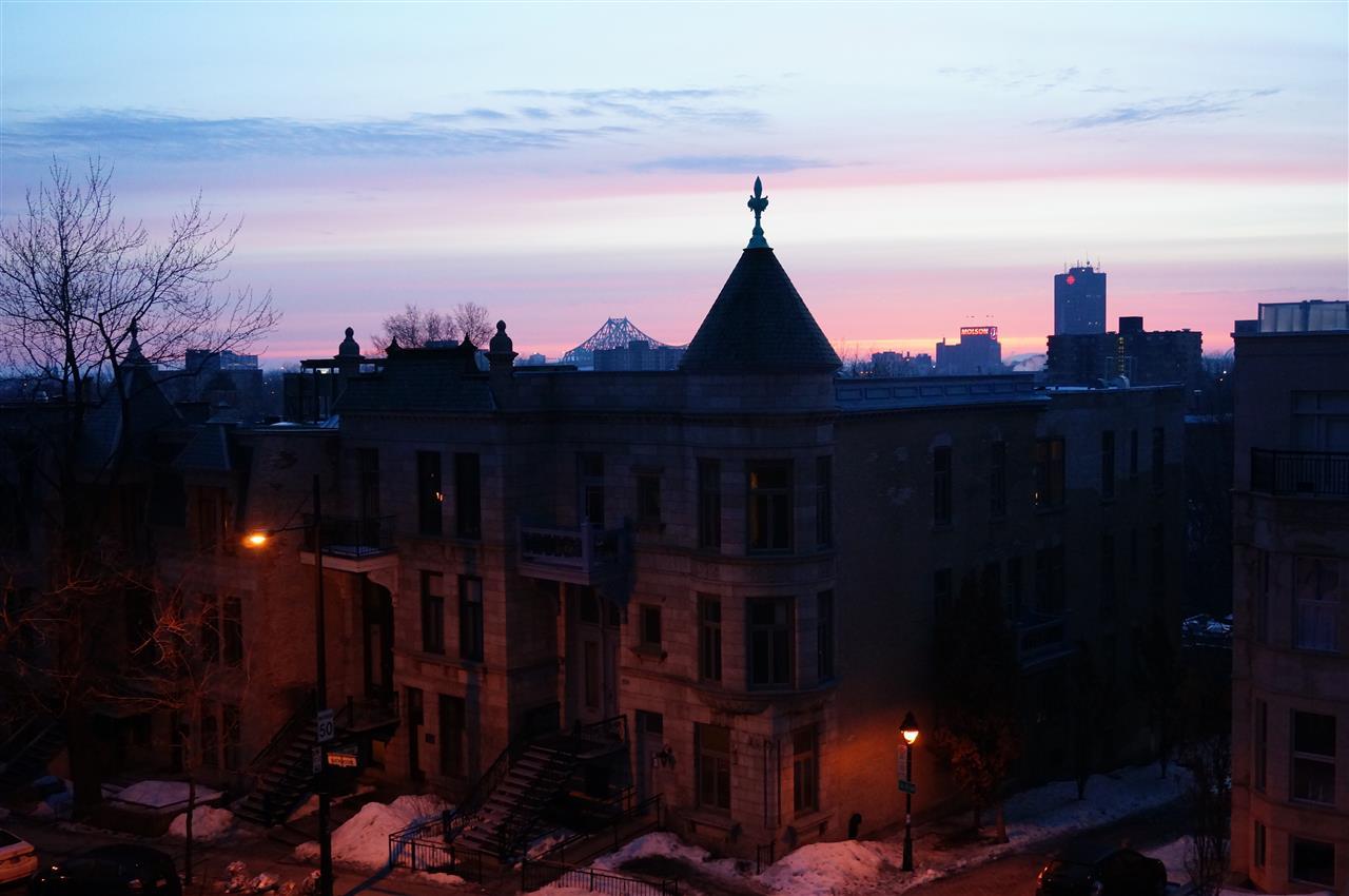 Sonnenaufgang in Montreal aus meinem Apartement Fenster
