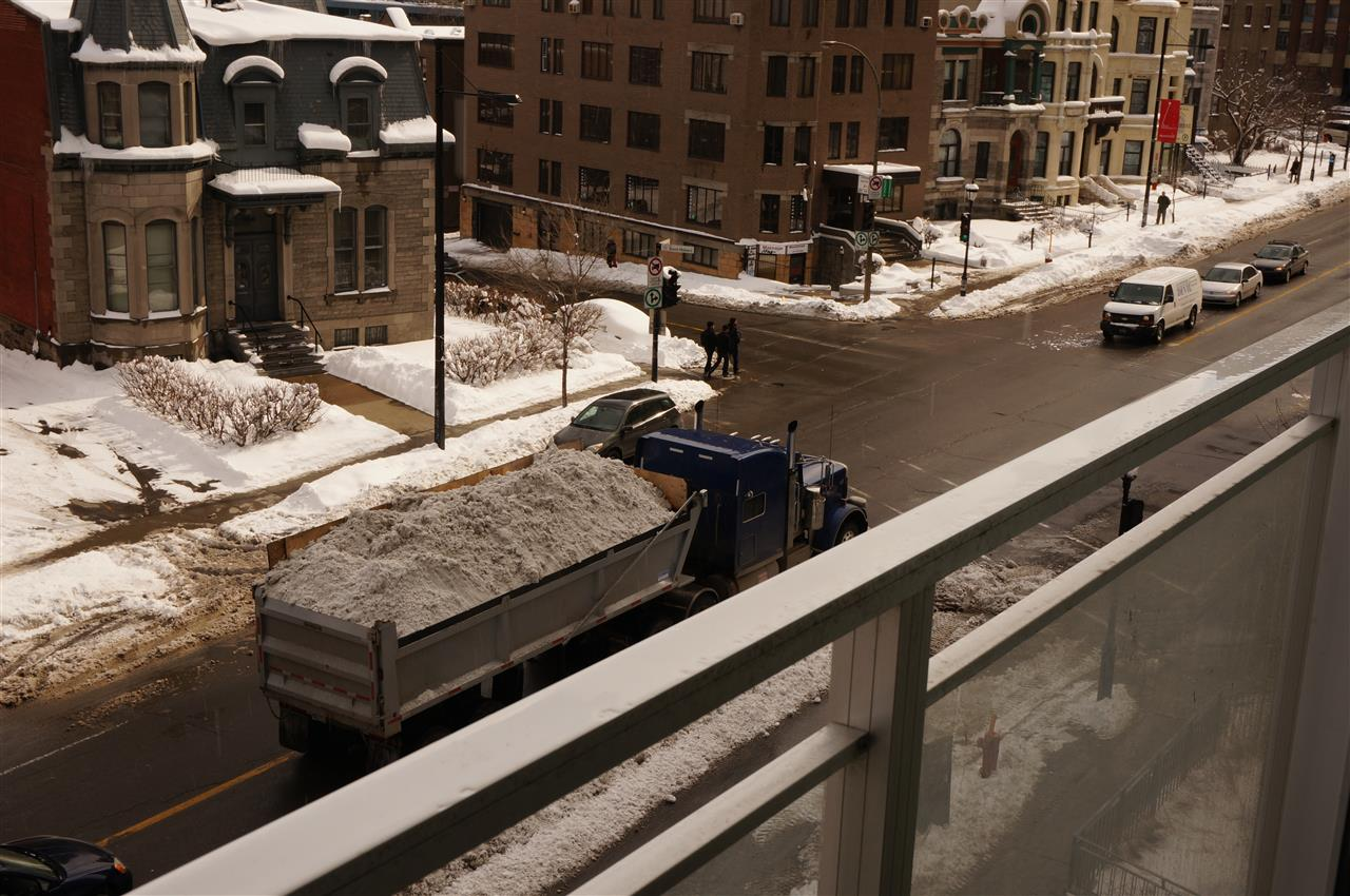 Schneeabtransport im Laster